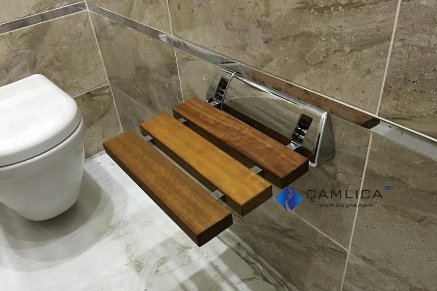 Banyolar için Ahşap Duş Tabureli Izgara